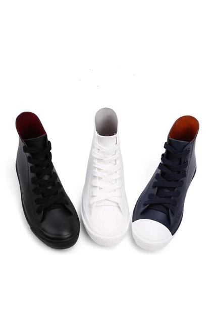 雨天也要時尚防滑防水高筒帆布鞋雨鞋*3色S-XL