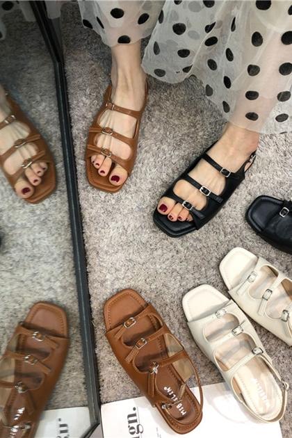 復古釦環羅馬涼鞋*3色36-39