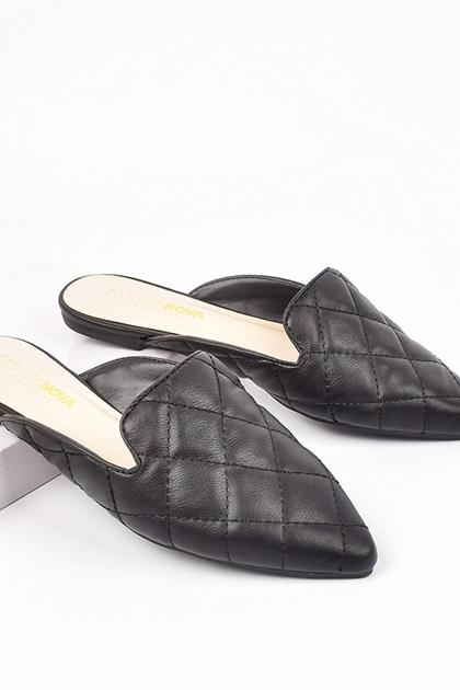 小香風菱格壓紋穆勒拖鞋*黑36~40