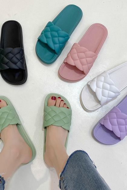 小香風菱格紋防水塑料拖鞋居家鞋*6色36-41
