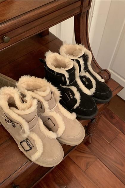保暖加厚加絨雪地短靴*2色36~39