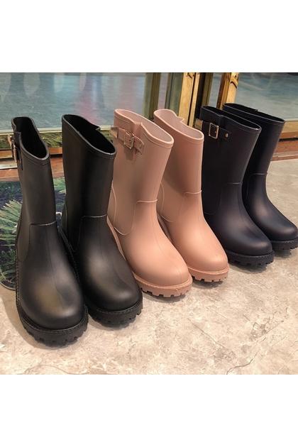 梅雨季節必備騎士釦環雨靴*3色36~40