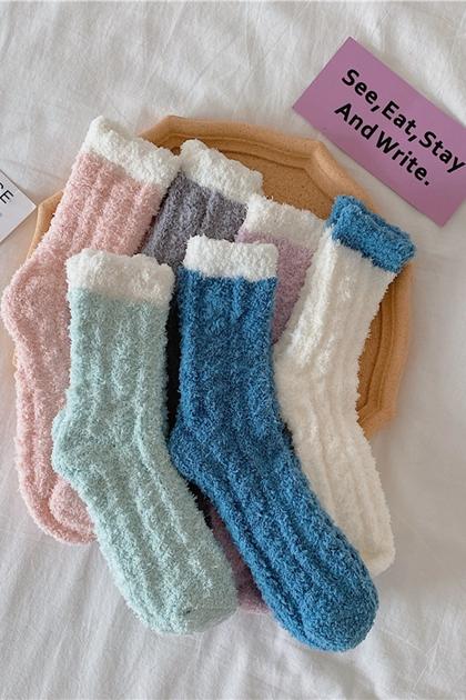 加厚保暖中筒襪珊瑚絨襪子*6色3入一組