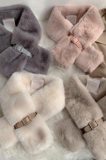 溫柔保暖毛毛造型釦環交叉圍巾圍脖*5色