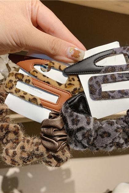 韓國豹紋拼接皮革髮夾髮飾髮圈3件組*2色