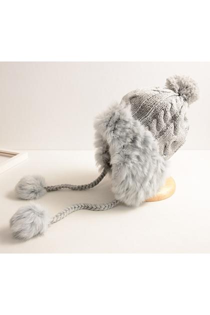 chic保暖雙層加絨護耳麻花針織毛球毛線帽*4色