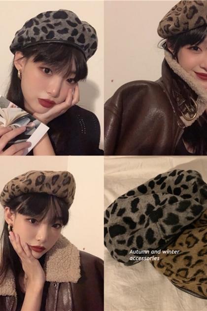 復古豹紋貝雷帽畫家帽*2色