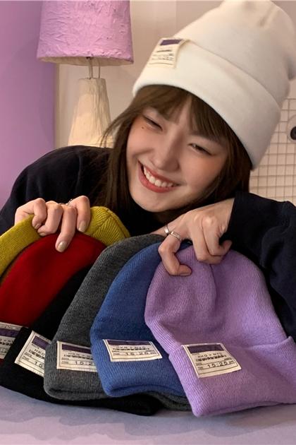 保暖英文標針織帽潮帽美式帽*7色