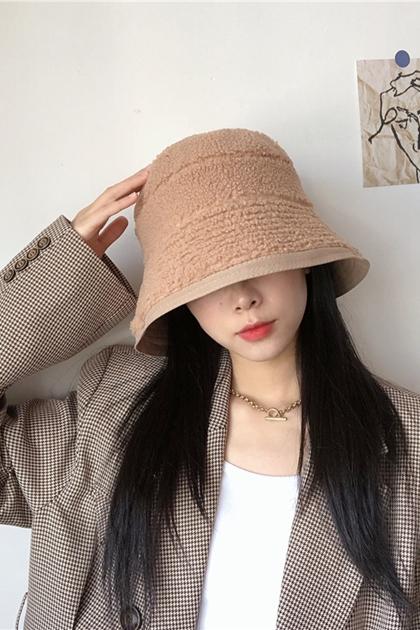 純色雙面羊羔毛漁夫帽*4色