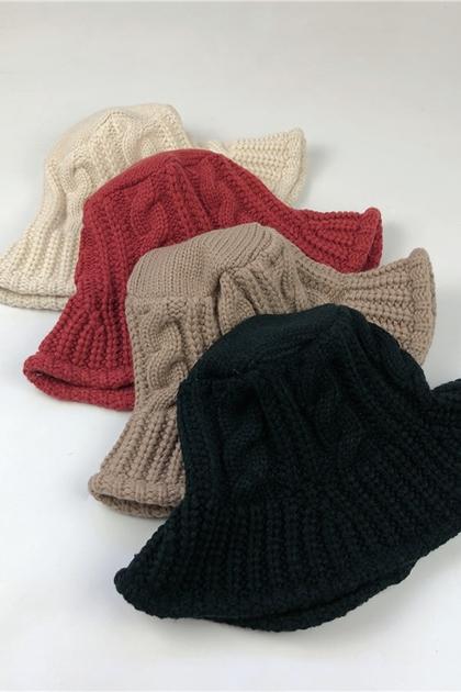 麻花鉤織漁夫帽*4色