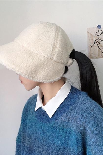 大頭圓臉適合後調整羊羔毛漁夫帽*6色