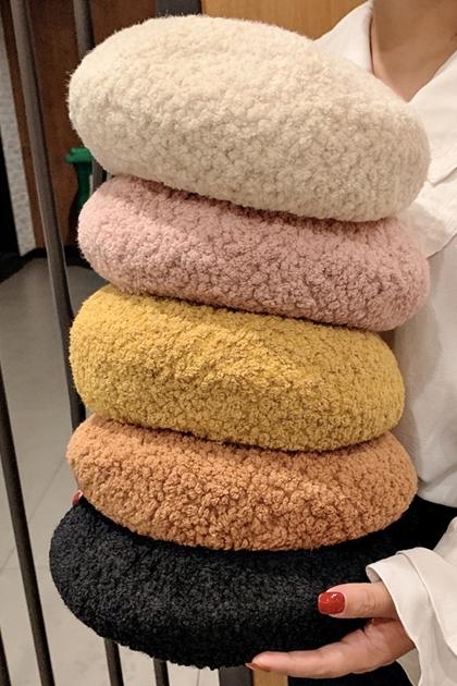 純色羊羔毛保暖貝蕾帽畫家帽*6色