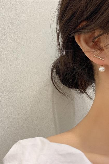 韓國水鑽珍珠銀針耳環*金