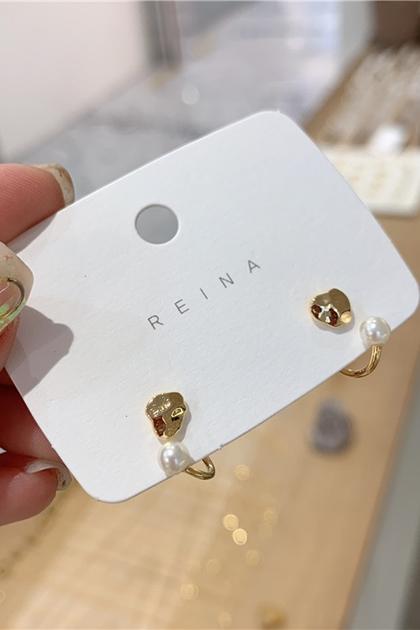 韓國愛心珍珠925銀針耳環