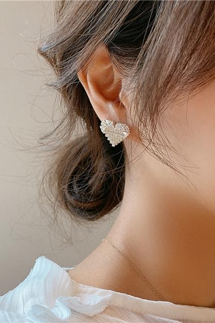 韓國925純銀耳針愛心鑽耳環