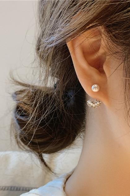 韓國水鑽愛心珍珠925銀針耳環