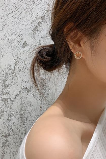 韓國水鑽笑臉銀針耳環