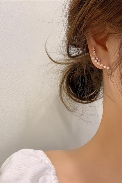 韓國超美排列水鑽珍珠925銀針耳環
