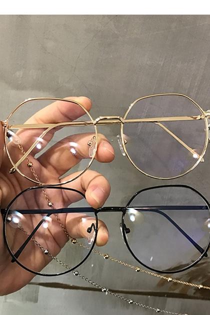 復古修飾臉型圓框眼鏡附鍊條項鍊*7色