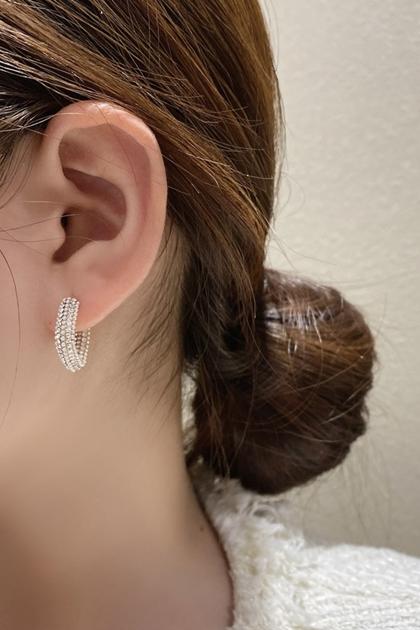 W珍珠耳環滿鑽珍珠閃閃耳圈耳針