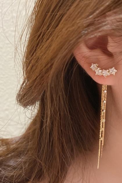 W細緻閃鑽星星銀針耳墜流蘇耳環