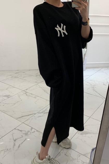 慵懶字母NY加長衛衣洋裝*4色