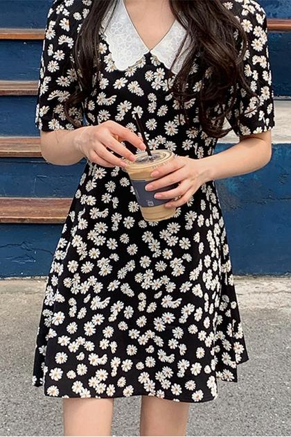 蕾絲領小花雛菊收腰洋裝