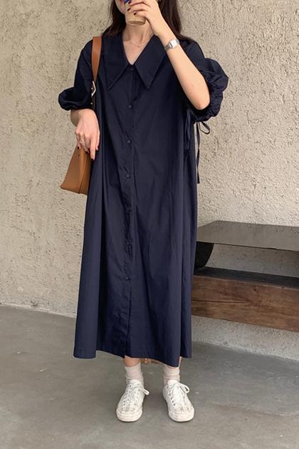 文青藍系V領開扣抽繩寬鬆洋裝