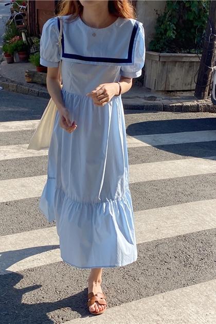 復古海軍領配色洋裝*2色