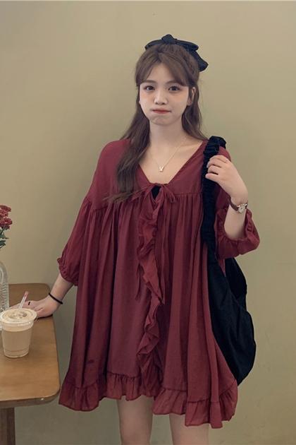 顯瘦V領荷葉洋裝*3色