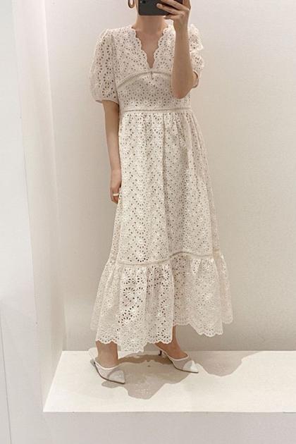 法式V領重工縷空蕾絲洋裝*2色