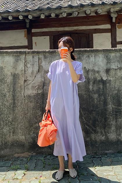 捏摺袖魚尾裙襬洋裝*4色