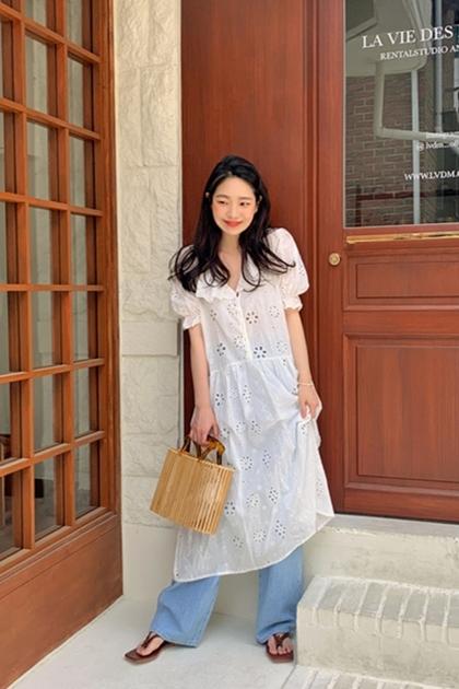 溫柔娃娃領泡泡袖褸空刺繡蕾絲洋裝*白