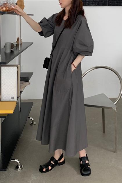 法式復古澎澎袖洋裝