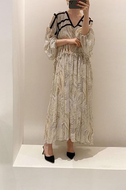 法式V領花邊大理石紋洋裝