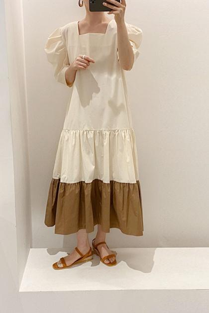 法式復古方領皺摺拼色泡泡袖洋裝*2色