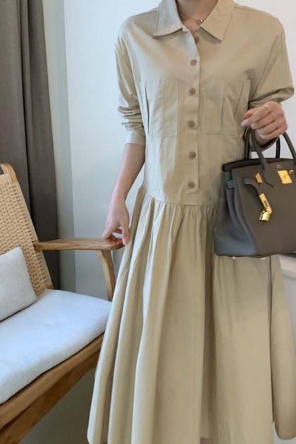 復古顯瘦腰綁帶抓摺襯衫洋裝*2色