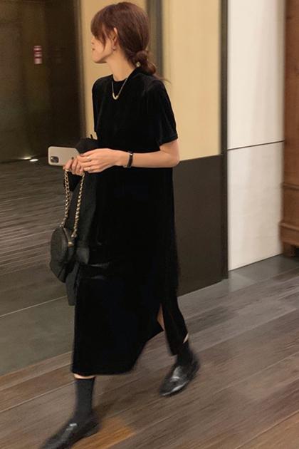 復古絲絨連身洋裝*黑