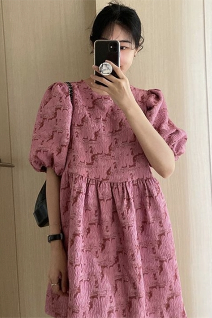 立體壓摺花紋洋裝*2色
