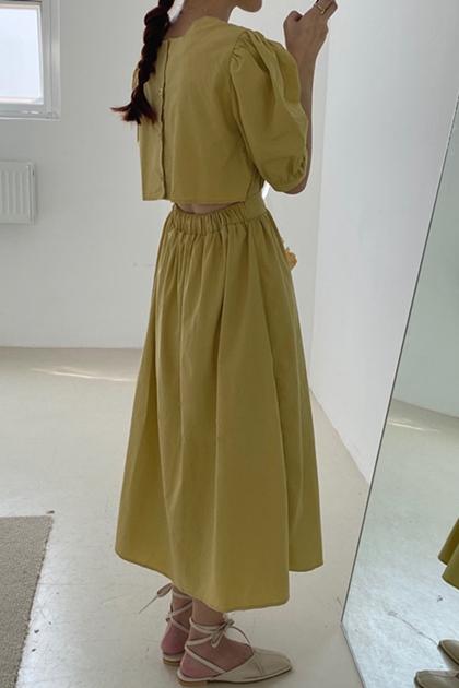 澎澎袖後露腰腰彈性洋裝*3色