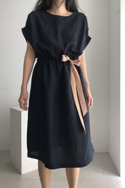 優雅配色腰綁帶洋裝*2色