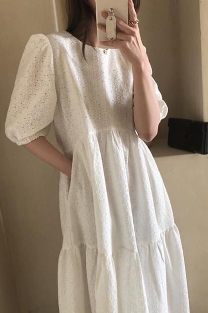 蕾絲摟空緹花泡泡袖洋裝*2色
