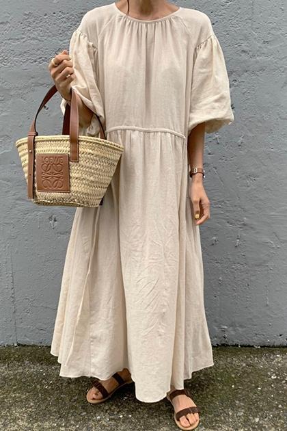 燈籠袖純色高腰洋裝*米杏