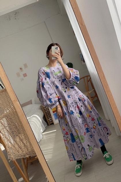 童趣塗鴉印圖洋裝*2色