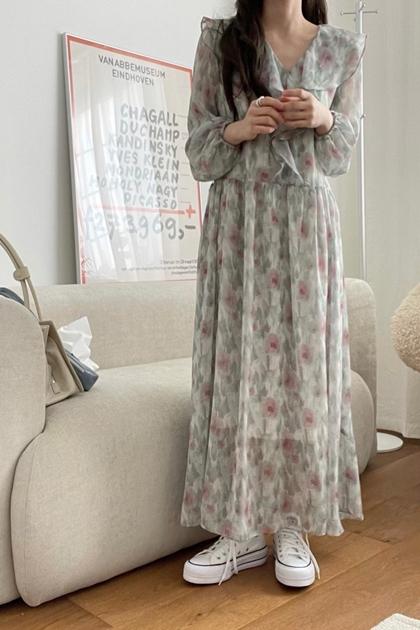 氣質荷葉墨花洋裝*3色