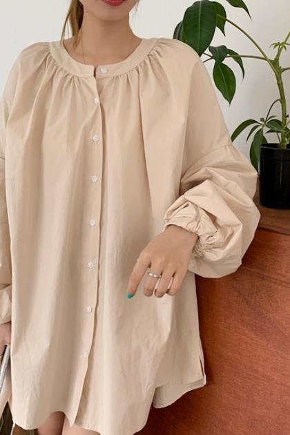 小立領開釦襯衫洋裝*2色