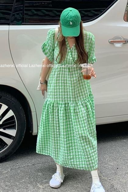 法式清爽綠棋盤格紋抓摺洋裝