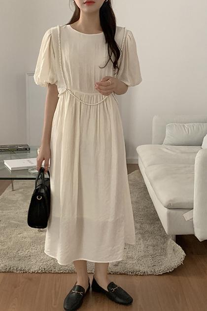 法式壓褶珍珠裝飾高腰泡泡袖洋裝*2色