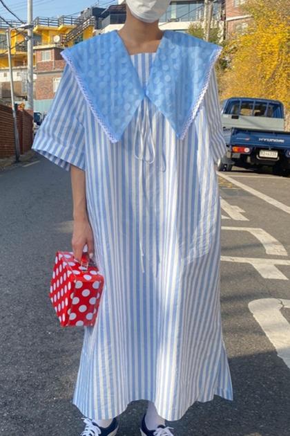 甜美大翻領可拆撞色條紋洋裝*2色