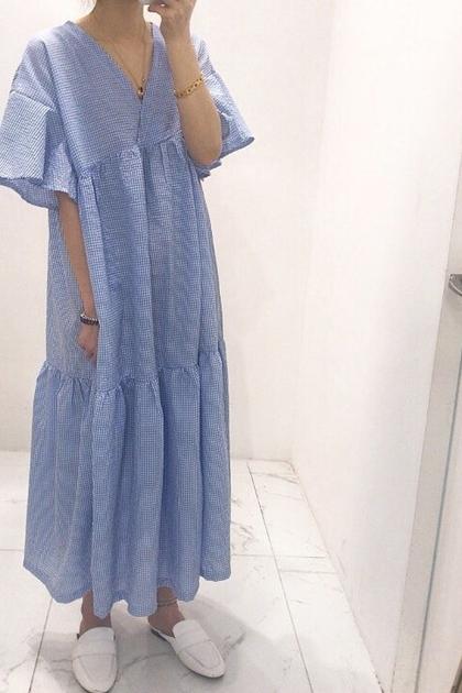 小清新V領飛飛袖格紋短袖洋裝